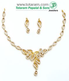 Totaram Jewelers: Buy 22 karat Gold jewelry & Diamond jewellery from India: Diamond Necklace Sets Diamond Necklace Simple, Gold Pearl Necklace, Diamond Jewelry, Gold Jewelry, Jewelery, Stylish Jewelry, Simple Jewelry, Bridesmaid Jewelry Sets, Necklace Designs
