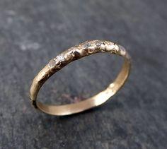 Custom Raw Rough Uncut Diamond Wedding Band 14k Gold by byAngeline