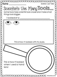 Science Lab Tools: Students can use this  #ScienceLabTools printable as they observe objects with their hand lens. $ #sheilamelton