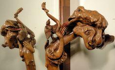 SCULPTURE SUR BOIS: Pommeau du Bâton de la Tarasque. Sculpture de Pierre Damiean. Voir le Site: www.pierdam.fr