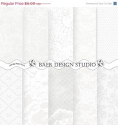 ON SALE WHITE Lace Paper: White and Light Gray Digital Paper-5x7 inch printable invitation paper-wedding invitation paper, bridal shower inv...