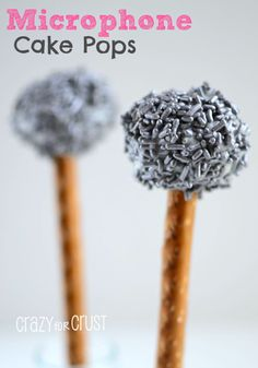 Microphone Cake Pops by www.crazyforcrust.com | A microphone you can eat!  Perfect for everything from Karaoke parties to American Idol viewings to party for Broadcast Journalism grad!  :)