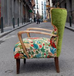 go-jewellery:  Upcycled, upholstered vintage chair with mixed medium of velvet and printed Frida Kahlo print by La Tapicera. A chair suitable to be in any room. Photo courtesy of La Tapicera