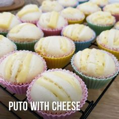 Puto (Filipino Muffins)with cheese - PinoyCookingRecipes - Puto (Filipino Muffins)with cheese Soft, moist and delicious Puto with Cheese - Putoflan Recipe, Filipino Rice Cake Recipe, Puto Cheese Recipe, Putong Puti Recipe, Rice Cake Recipes, Bakery Recipes, Dessert Recipes, Pinoy Cake Recipe, Breads