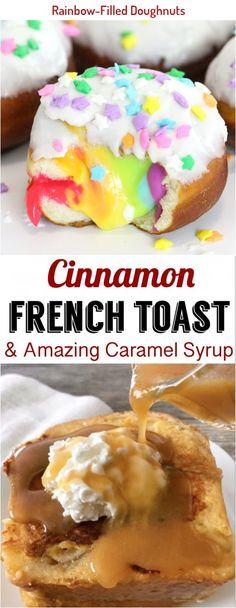 If you like vanilla cream-stuffed doughnuts, you'll love this colorful twist on a favorite. Talipia Recipes, Cinnamon French Toast, Vanilla Cream, Doughnuts, Caramel, Rainbow, Colorful, Breakfast, Food