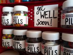 Happy pills, candy, regalo, candy pills, get well soon.