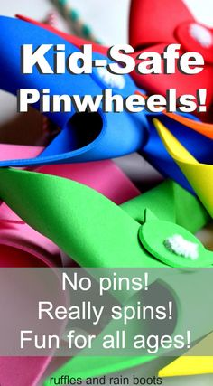 Make this safe pinwheels without pins that REALLY SPIN! Using paper or foam, you can quickly and easily craft these fun toys for classrooms, playdates, parties, and just to have some fun on a windy day. Pinwheel Craft, Pinwheel Tutorial, Toddler Crafts, Toddler Activities, Activities For Kids, Cognitive Activities, Childcare Activities, Toddler Stuff, How To Make Pinwheels