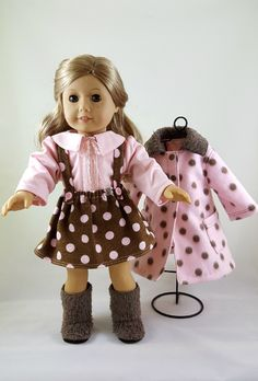 American Girl Doll Clothes: Pink & Brown Polka Dot Fleece Coat, Skirt, Pink Blouse and Brown Boots by ILuvmCreations on Etsy