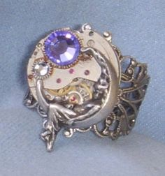 Steampunk Moon Goddess Ring by Connor Kitsune Designs