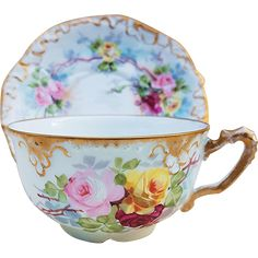 Exquisite A.K. France Limoges Vintage 1890's Hand Painted 'Red, Pink, & Yellow Roses' Floral Cup & Saucer, by Artist, 'F. Gruenwald' - Late 19th Century Floral Teacup Tea Cup