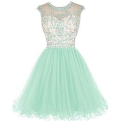 Tideclothes Short Beading Prom Dress Tulle Homecoming Dress Hollow... (8465 RSD) ❤ liked on Polyvore featuring dresses, short prom dresses, beaded prom dresses, short green dress, cocktail prom dress and short cocktail dresses