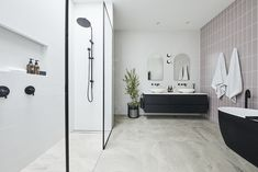 The Block 2020: Master Ensuite Reveals The Block Bathroom, White Bathroom Tiles, Grey Tiles, Ensuite Room, Master Bathroom, Beaumont Tiles, Stone Look Tile, Pink Towels, Wall Hung Vanity