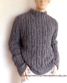 48f1076d2 Men sweater Cable knit pullover knitting pattern PDF pattern Instant Download  Pattern available in ENGLISH