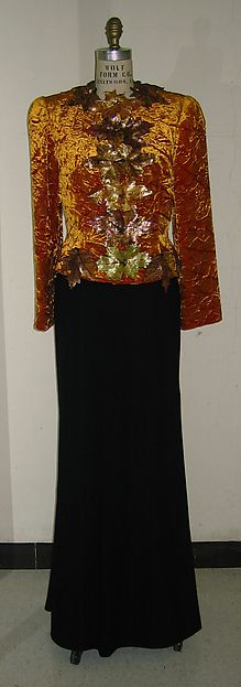Ensemble, silk and wool with synthetic, Bill Blass designer, 1985-86