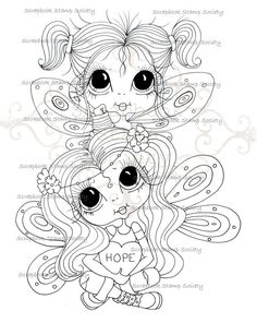 INSTANT DOWNLOAD Digital Digi Stamps Fairy Big Eye Big Head Dolls Digi  My Besties Wee Winged Pixie Pals  By Sherri Baldy