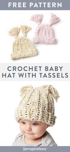 This free crochet baby hat pattern looks super cute with a pair of tassels.  Make 0289495436c