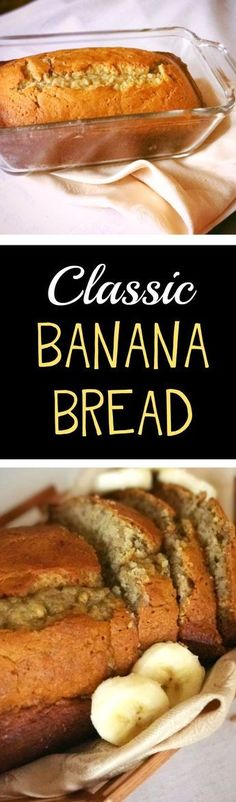 Best recipe for classic, moist banana bread! Easy quick bread with only a few ingredients. Perfect breakfast or snack. Easy banana recipe