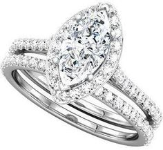 Halo Bridal Set: Solitaire Marquise Diamond Engagement Rind + Band.