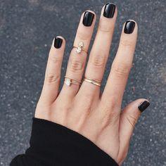 """""""Black nail polish and my favorite gold rings"""""""