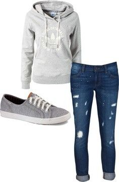 I love the style of these rolled-up (not really Capri) jeans; I love the little rips instead of big ones. Just a simple light gray hoodie and gray Keds to go along with it...