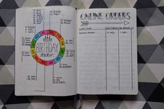 Bullet Journal - Birthday & Online order trackers