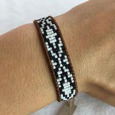 "NEW CHAN LUU Tan Gold White Black Beaded Seed Leather Bracelet 8"" $90"