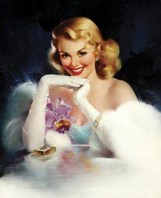Beautiful woman with orchid corsage - Edward Runci