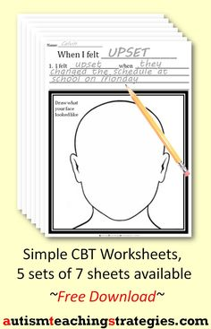 I created these simple CBT worksheets to use along with my other CBT resources.  The seven worksheets deal with automatic negative thoughts and self-defeating behavior in kid-friendly language.  This was pinned by pinterest.com/joelshaul/  Follow all our boards.