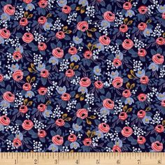 Cotton + Steel Rifle Paper Co. Les Fleurs Rosa Navy from @fabricdotcom  Designed…