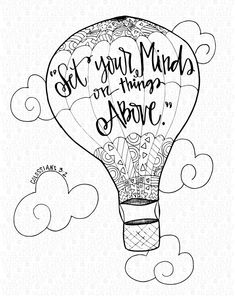 """Set your mind on all things above."" Colossians 3:2  This hand-drawn, one of a kind coloring page is ideal for boys & girls of  all ages, church groups, & people who are just stressed out!"