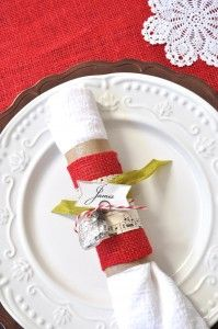 Up-Cycled Christmas Napkin Rings & Place Cards | Make and Takes