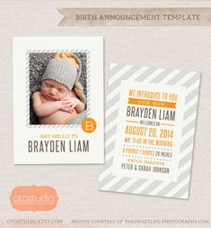 Birth Announcement Template Photo Collage - Modern Stripes CB019 - PSD Flat Card #Etsy #Share #EtsyShop Shared by #BaliTribalJewelry http://etsy.me/1sDZ302