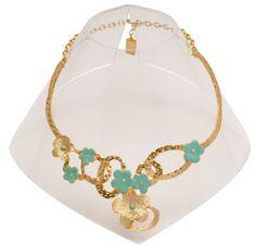 Green Enamel Floral Bib Statement Necklace gold