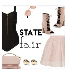 """Summer Date: The State Fair"" by danielle-487 ❤ liked on Polyvore featuring Balmain, Topshop, Eddie Borgo, Kendall + Kylie, Ray-Ban, Kenneth Jay Lane, statefair and summerdate"