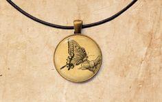 Butterfly pendant Botanic jewelry Animal by SleepyCatPendants