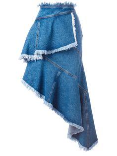 PHILOSOPHY DI LORENZO SERAFINI Ruffle Asymmetric Skirt. #philosophydilorenzoserafini #cloth #skirt