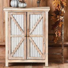 9 Brilliant Farmhouse Office Decor Ideas - I LOVE this barn door storage cabinet! It would be perfect for farmhouse styled decor in your offic - Farmhouse Office Storage, Farmhouse Storage Cabinets, Metal Storage Cabinets, Diy Cabinets, Kitchen Storage, Inside Cabinets, Kitchen Cabinets, Armoires Diy, Metal Barn