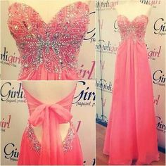 a pink long dress, love the details at the top and the tie on the back