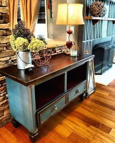 tv entertaining center from blah to whaaaat, chalk paint, painted furniture