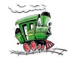 illustration r�tro vecteur de dessin anim� locomotive isol� sur fond blanc photo