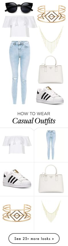 """Boho casual"" by alannahdingles22 on Polyvore featuring Stella & Dot, adidas, Allurez, New Look, Topshop and Prada"