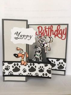 Yappy Birthday by Rose Reynolds - Cards and Paper Crafts at Splitcoaststampers Dog Cards Handmade, Handmade Birthday Cards, Handmade Soaps, Fun Fold Cards, Folded Cards, Cat Cards, Kids Cards, Stamping Up Cards, Animal Cards