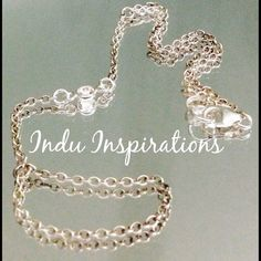 Oxidized sterling silver cubic zirconia hand jewelry on Etsy, $55.00