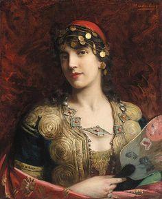 """""""Oriental Woman"""" by artist Paul Antoine de La Boulaye (1849-1926)."""