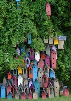 colourful birdhouses