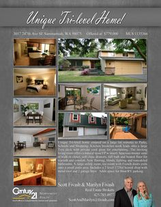 Update - Now PENDING Cheers to Scott Fivash  Unique Tri-level home situated on nearly one acre, minutes to Parks, Schools and Shopping at Sammamish.  MLS # 1135366 http://21392ndplacese.c21.com/