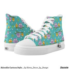Adorable Cartoon Style Owls on Branch Print High-Top Sneakers