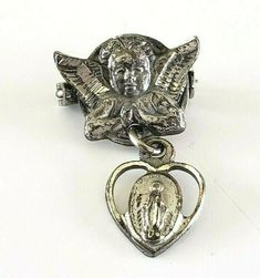 Vtg Sterling Cherub Angel Miraculous Medal Heart Baby Pin Tiny Religious Jewelry, Cherub, Miraculous, Costume Jewelry, Antique Jewelry, Vintage Items, Im Not Perfect, Pendants, Angel