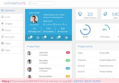 Karmanta Lite - Free Admin Template for Bootstrap is bootstrap admin template free minimal, sleek, clean and lightweight look awesome. Dashboard Design, Ui Design, Digital Tablet, Ui Elements, Ui Inspiration, Dashboards, Mobile Design, Web Browser, Business Card Design