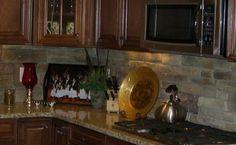 Kitchen Backsplash done in stacked stone